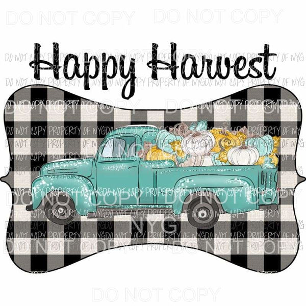 Happy Harvest Green Old Truck Buffalo Plaid Pumpkins Sublimation transfers Heat Transfer