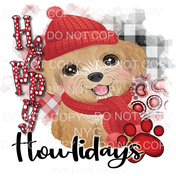 Happy Howlidays Christmas Terrier Sublimation transfers -