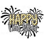 Happy New Year Gold Stripes Silver Sublimation transfers -