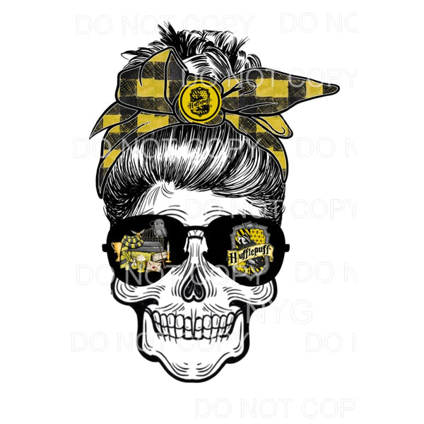 Harry Potter YELLOW Messy Bun SKULL HP Sublimation transfers