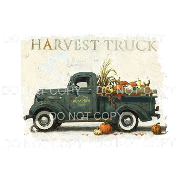 Harvest vintage truck with pumpkins Sublimation transfers -