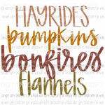 Hayrides Pumpkins Bonfires Flannels fall # 5 Sublimation transfers Heat Transfer