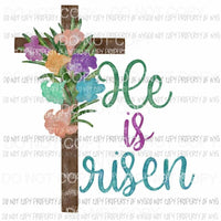 He Is Risen wooden cross flowers Sublimation transfers Heat Transfer