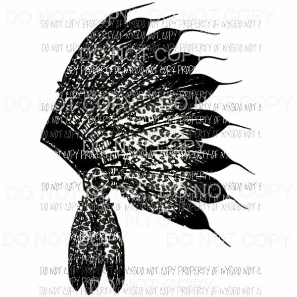 Head Dress black leopard Sublimation transfers Heat Transfer