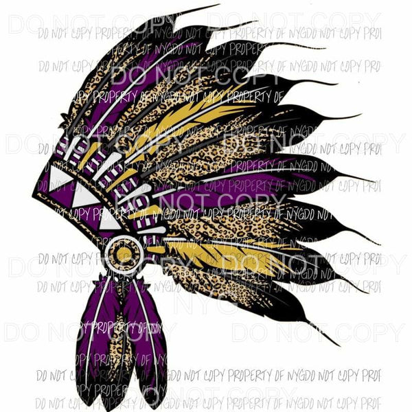 Head Dress Purple and Gold indian Sublimation transfers Heat Transfer