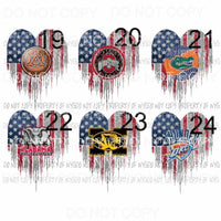 Heart Flag 19-24 you choose Sublimation transfers Heat Transfer