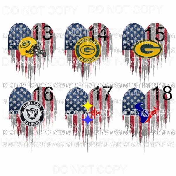Heart flag numbers 13 - 18 you choose Sublimation transfers Heat Transfer