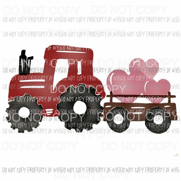 Heart Tractor red Sublimation transfers Heat Transfer