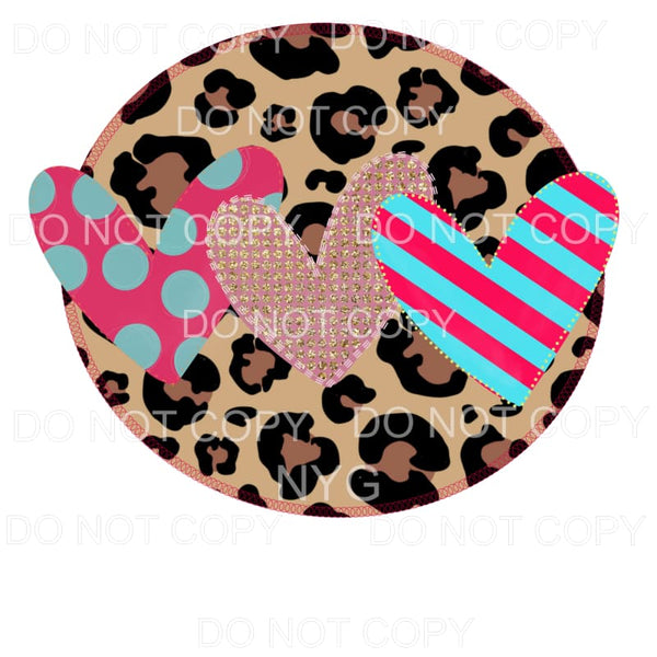 Heart Trio Leopard Circle Frame Sublimation transfers - Heat