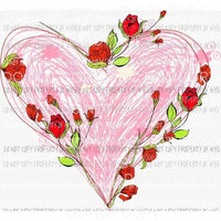 Heart with roses Sublimation transfers Valentines day love Heat Transfer