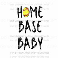 Home Base Baby Softball Sublimation transfers Heat Transfer