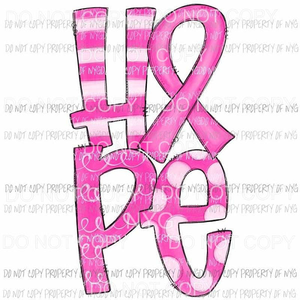 HOPE pink Breast Cancer awareness ribbon stacked # 2 Sublimation transfers Heat Transfer