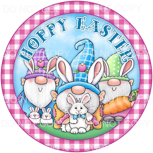 Hoppy Easter Gnomes Bunnies Pink Circle Frame Sublimation