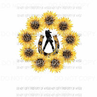 Horseshoe Cowgirl #4 sunflower circle wreath Sublimation transfers Heat Transfer