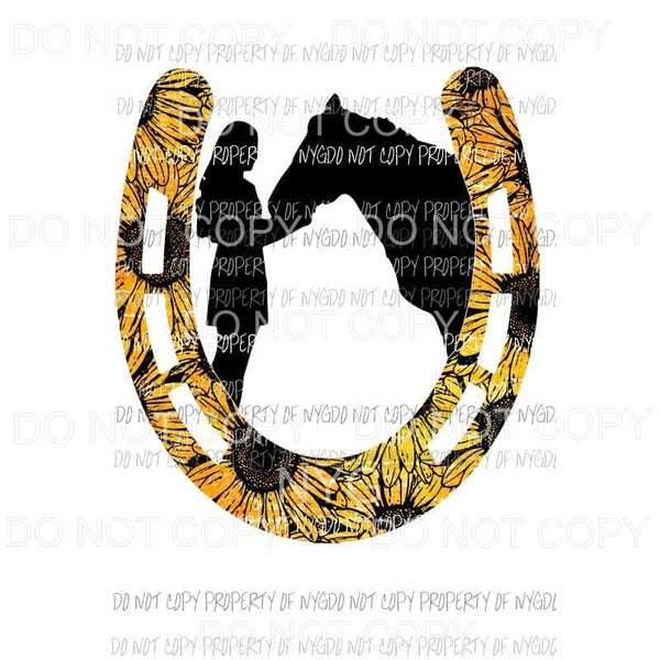 Horseshoe sunflower Horse and GIrl Sublimation transfers Heat Transfer