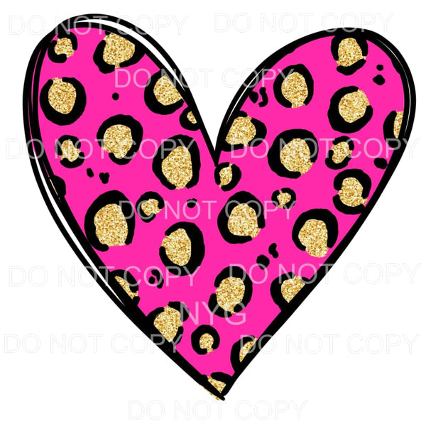 Hot Pink Gold Leopard Heart Sublimation transfers - Heat