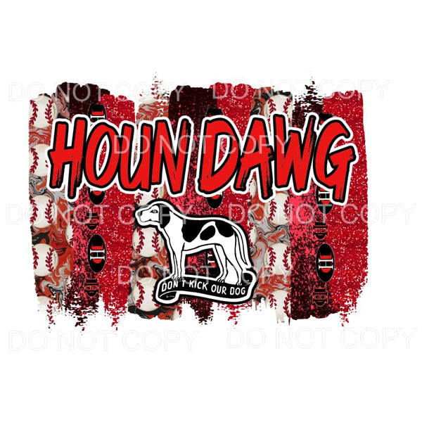 Houn Dawg Baseball with Dog Red Black Brushstrokes