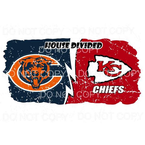 House Divided Chicago Bears KC Kansas City Chiefs Distressed