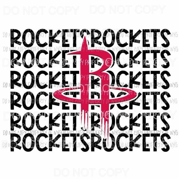Houston Rockets stacked Sublimation transfers Heat Transfer