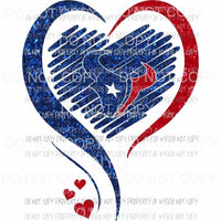Houston Texans heart red blue glitter Sublimation transfers Heat Transfer