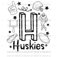 Huskies football spirit doodle Sublimation transfers Heat Transfer