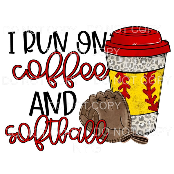 I Run On Coffee And Softball Leopard Cup Glove Sublimation