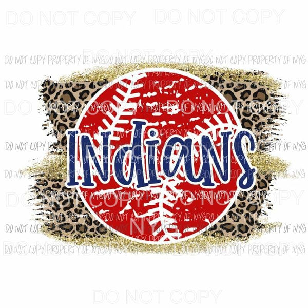 Indians baseball leopard Sublimation transfers Heat Transfer