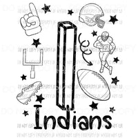 Indians football spirit doodle Sublimation transfers Heat Transfer