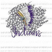 INDIANS Head Dress Purple and Gold Sublimation transfers Heat Transfer