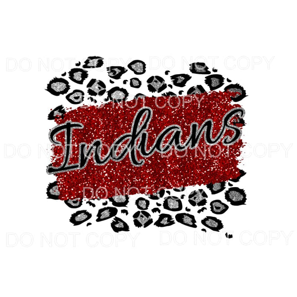 Indians Leopard Custom Red and silver Sublimation transfers