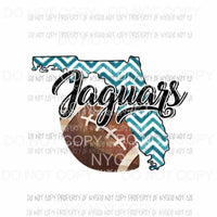 Jacksonville Jaguars football chevron state Sublimation transfers Heat Transfer