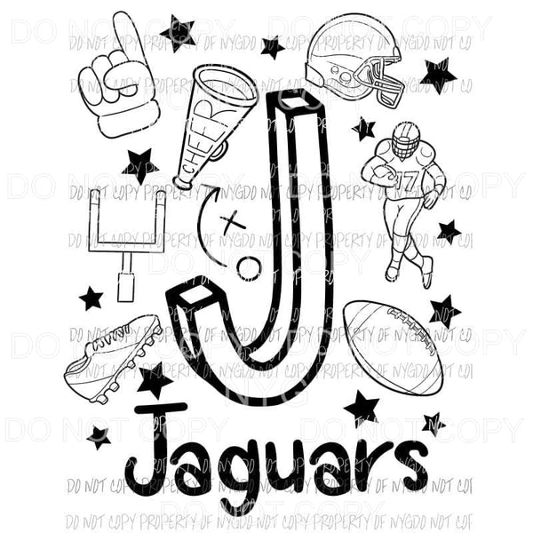 Jaguars football spirit doodle Sublimation transfers Heat Transfer