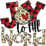 Joy To The World Red Buffalo Plaid Leopard Sublimation