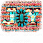 Joy Turquoise Gem Marquee Serape Leopard Background