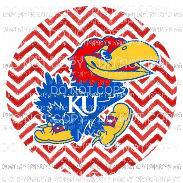 Kansas University Jayhawks chevron circle Sublimation transfers Heat Transfer