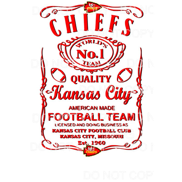 KC Chiefs Whiskey Label Sublimation transfers - Heat
