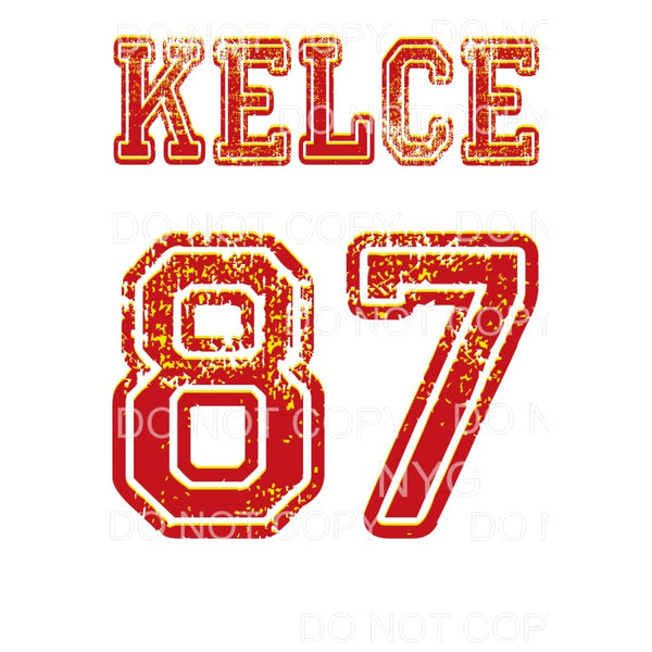 KELCE 87 Chiefs KC Sublimation transfers - Heat Transfer