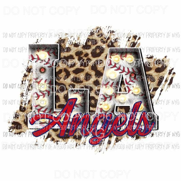 LA Angels baseball marquee Los Angeles leopard Sublimation transfers Heat Transfer