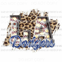 LA Dodgers baseball marquee Los Angeles leopard Sublimation transfers Heat Transfer