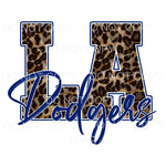 LA Dodgers Blue Leopard Baseball Los Angeles Sublimation