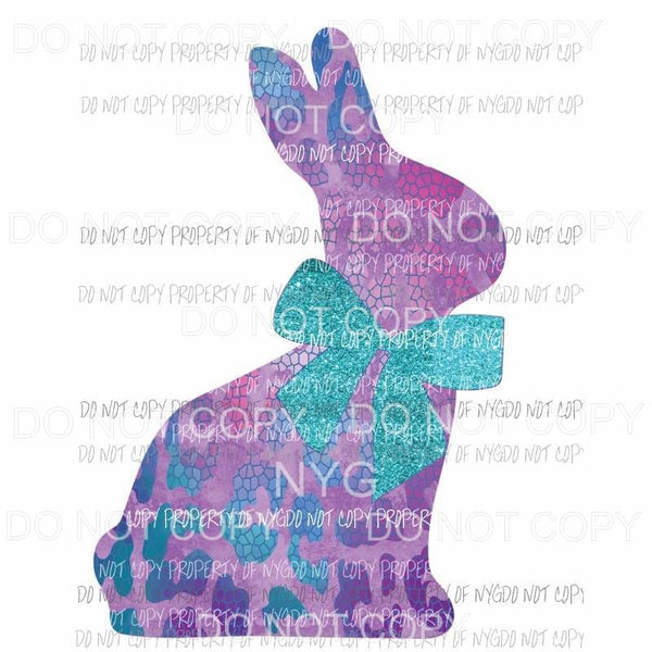 Leopard Easter Bunny purple teal blue Sublimation transfers Heat Transfer