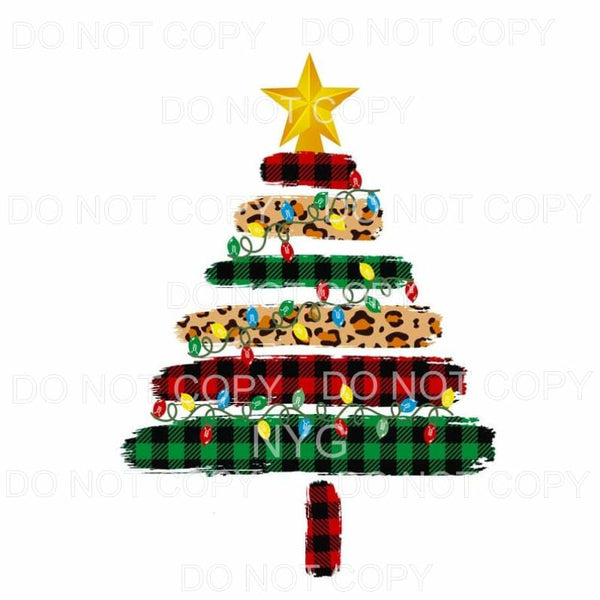Leopard Green Red Plaid Christmas Tree Sublimation transfers