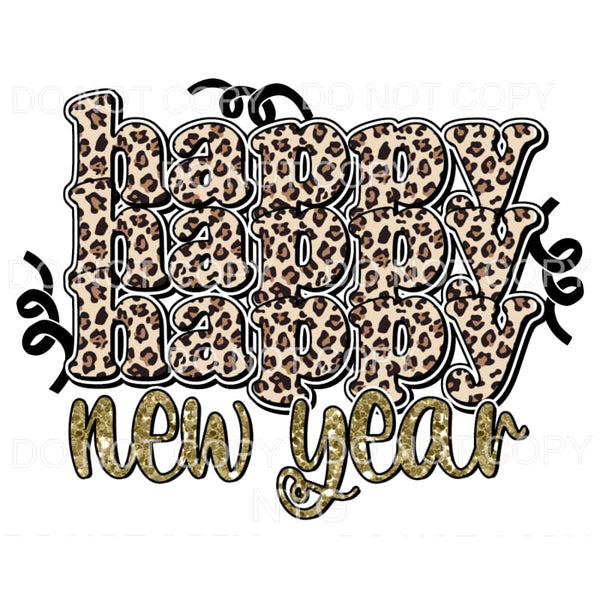 Leopard Happy Happy Happy New Year Sublimation transfers -