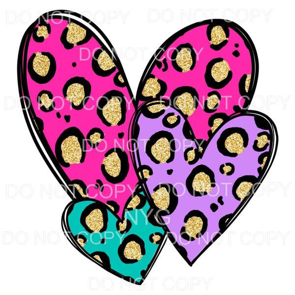 Leopard Heart Trio Pink Gold Teal Purple Sublimation