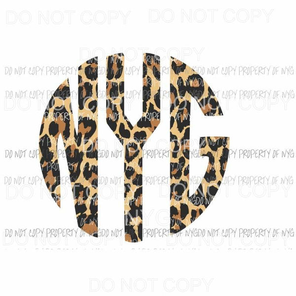 Leopard monogram letters Sublimation transfers Heat Transfer