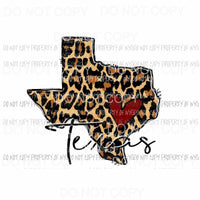 Leopard Texas with heart Sublimation transfers Heat Transfer