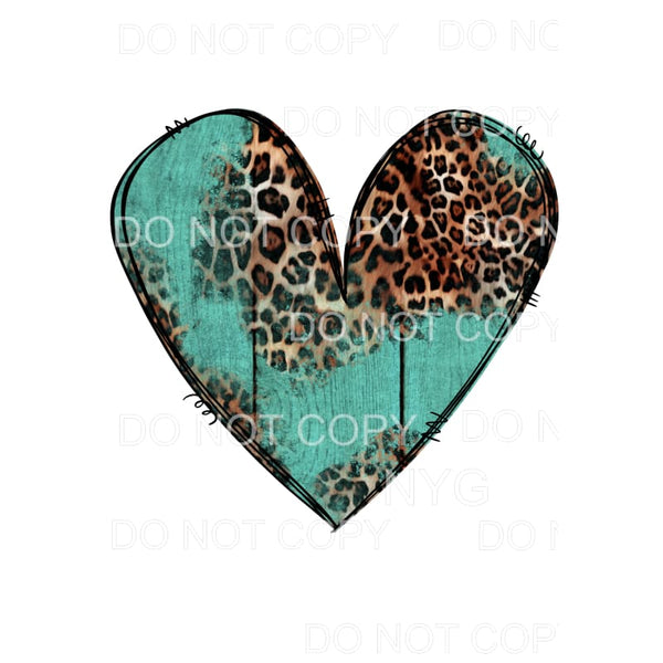 Leopard Turquoise Heart Sublimation transfers - Heat