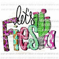 Lets Fiesta Hand Drawn Sublimation transfers Heat Transfer