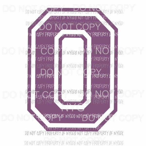 Letter O purple school Sublimation transfers Heat Transfer