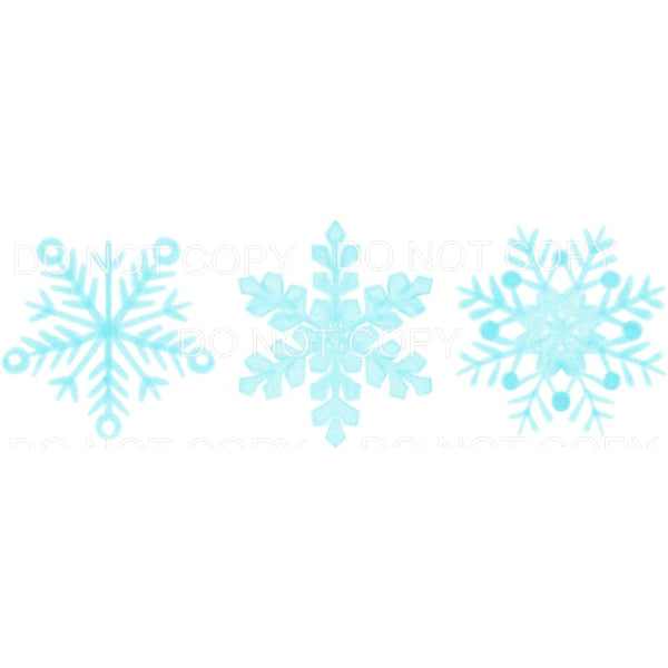 Light Blue Snowflake Trio Sublimation transfers - Heat